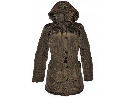 Dámský šusťákový khaki zelený kabát s páskem a kapucí G-Stone