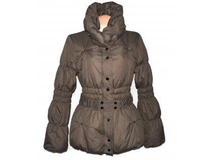 Péřový dámský hnědý kabát s páskem VERO MODA L