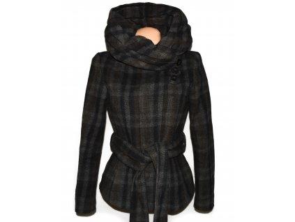 Vlněný dámský hnědo-černo-šedý kabát s páskem a límcem ZARA S