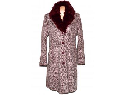 Vlněný dámský dlouhý melírovaný vínový kabát s kožíškem XXL