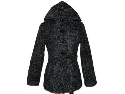 Vlněný dámský šedočerný kabát s páskem a kapucí M