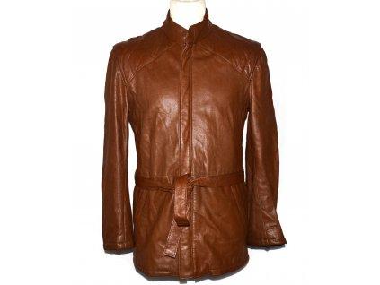 KOŽENÝ pánský hnědý měkký kabát s páskem na zip S
