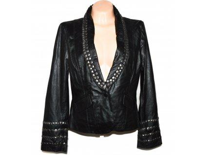 KOŽENÉ dámské černé měkké sako s doplňky XL