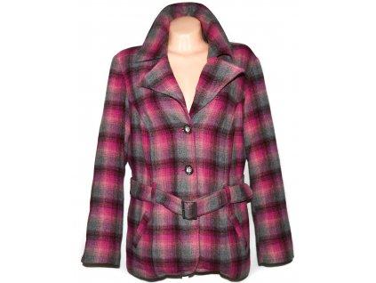 Vlněný dámský růžový kabát s páskem LERROS