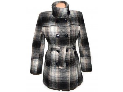 Vlněný dámský kostkovaný zateplený kabát s páskem L