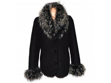 Dámský teplý černý kabát s kožíškem XL