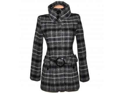 Vlněný dámský žakárový kabát s páskem Jane Norman S