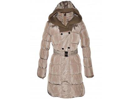 Dámský béžový prošívaný kabát s páskem a kapucí Resalsa M