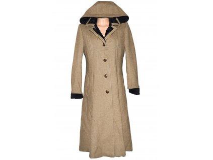 Vlněný dámský béžový dlouhý kabát s kapucí Odema (vlna, kašmír) 40