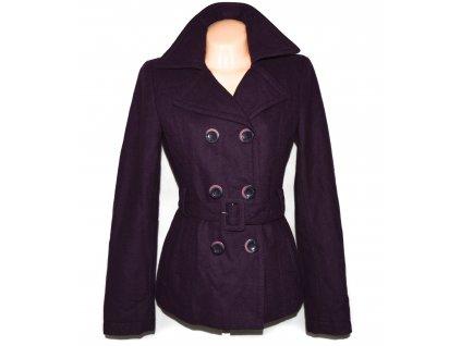 Vlněný dámský fialový kabát s páskem Orsay 36