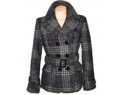Vlněný (80%) dámský károvaný kabát s páskem L