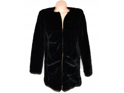 Dámský černý kožíškový kabát na zip STRADIVARIUS M