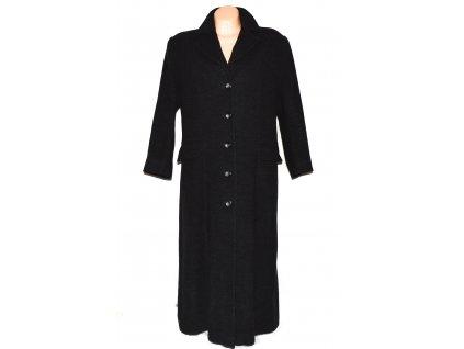 Vlněný (90%) dámský šedočerný dlouhý kabát Felicita XXL