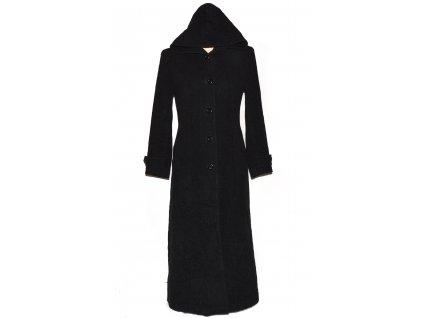 Vlněný (75%) dámský dlouhý šedočerný kabát s kapucí 40