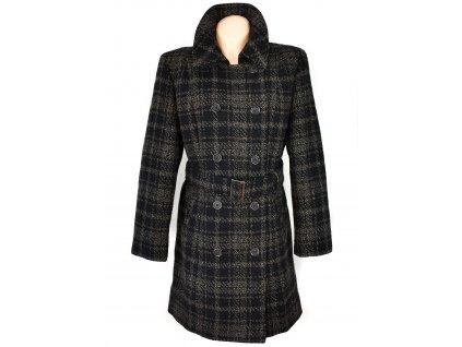 Dámský hnědočerný károvaný kabát s páskem La Boutique de Claudette L, XL