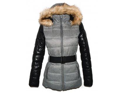 Dámský šedý prošívaný kabát s páskem a kapucí M