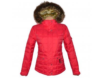 Péřová dámská korálová bunda s kapucí, kožíškem NORD BLANC