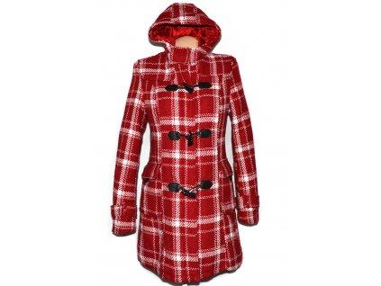 Vlněný dámský červený zimní kabát s kapucí L/40/42 2