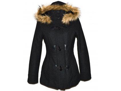 Vlněný dámský šedý kabát s kapucí H&M L 2