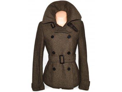 Vlněný dámský hnědý kabát s páskem ZARA M 4