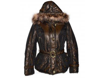 Péřový dámský hnědo-zlatý prošívaný kabát s páskem a kapucí Icebear XL