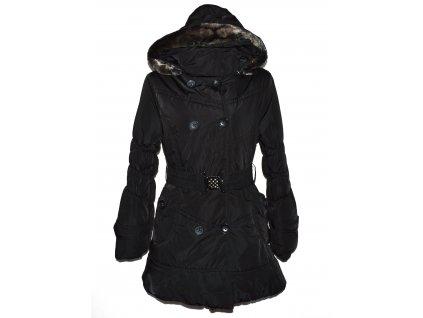 Dámský černý prošívaný kabát s páskem a kapucí Basio Collection XL