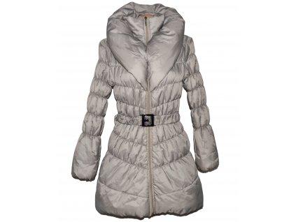 Dámský béžový prošívaný kabát s páskem a límcem M-L