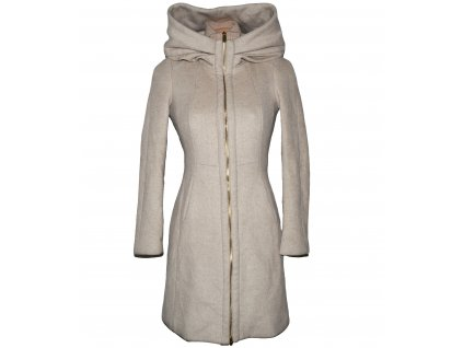 Vlněný dámský béžový kabát s límcem ZARA S
