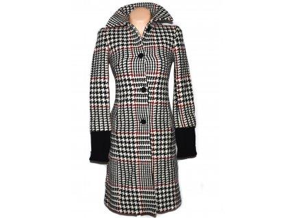 Vlněný (80%) dámský černo-červeno-bílý kabát - kohoutí stopa ZARA S