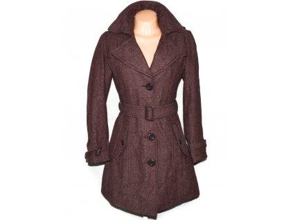 Vlněný (63%) dámský hnědovínový kabát s páskem Lifeline 40