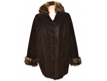 KOŽENÝ dámský hnědý zateplený kabát KARA XXL