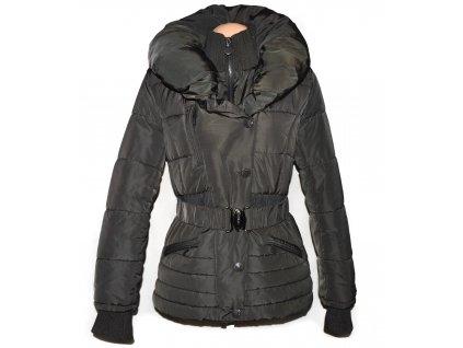 Dámský šedý prošívaný kabát s páskem a límcem Afeil XL