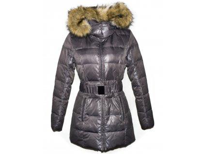 Dámský fialovo-šedý prošívaný kabát s páskem a kapucí CAMAIEU 14/42