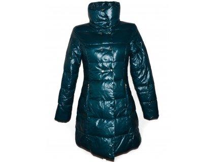 Péřový dámský zimní modrozelený prošívaný lesklý kabát Fishbone S