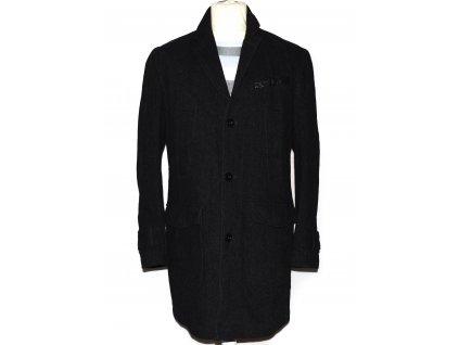 Vlněný (80%) pánský šedočerný kabát s.Oliver XL