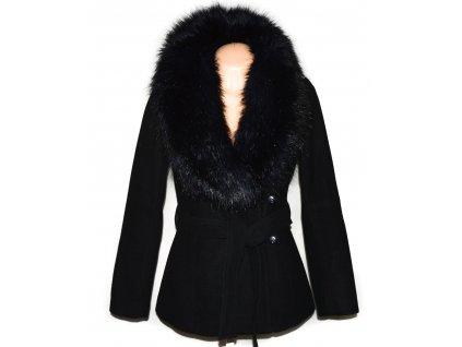 Vlněný (60%) dámský černý kabát s páskem a kožíškem H&M 36