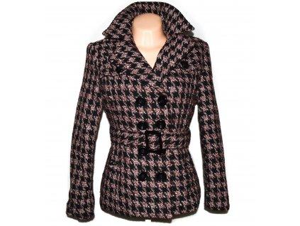Vlněný (80%) dámský černo-vínový kabát s páskem - kohoutí stopa Minikoko M/L