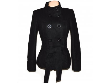 Vlněný (60%) dámský černý kabát s páskem ZARA M