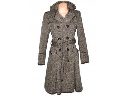 Vlněný (80%) dámský hnědý dlouhý kabát s páskem PROMOD 10/38