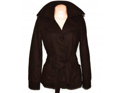 Vlněný (50%) dámský hnědý kabát s páskem Vero Moda M