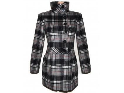 Vlněný (64%) dámský kostkovaný kabát SISLEY XS