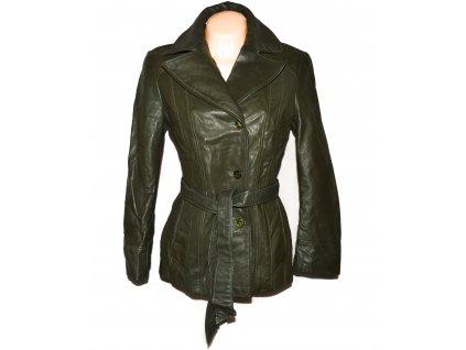 KOŽENÝ dámský zelený měkký kabát s páskem GALA M