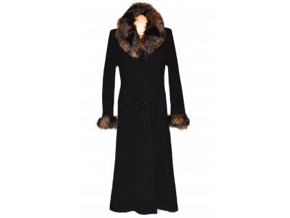 Vlněný (75%) dámský černý dlouhý kabát s kožíškem (vlna, kašmír) 40