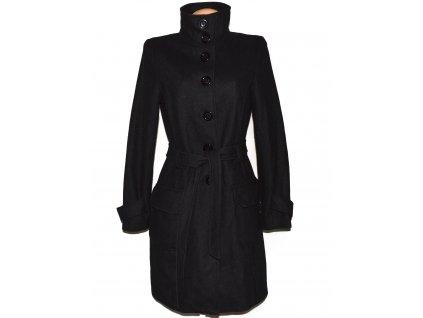 Vlněný (70%) dámský dlouhý černý kabát s páskem TARA M