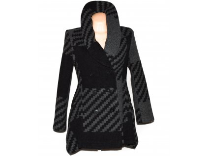 Vlněný (70%) dámský šedočerný vzorovaný kabát KappAhl XS