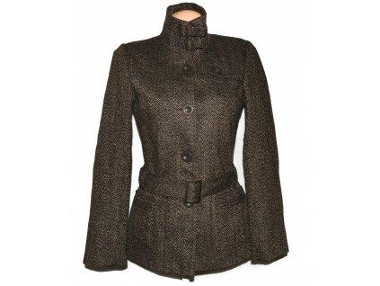 Dámský hnědý melírovaný kabát s páskem S/M