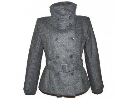 Vlněný (75%) dámský šedý zateplený kabát s páskem Imperial M/L
