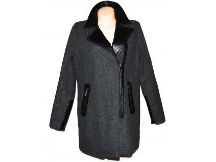 Dámský šedý zateplený kabát - křivák s koženkovými doplňky AMISU 40