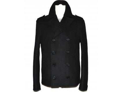 Vlněný (100%) pánský černý zateplený kabát S