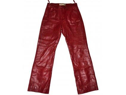 KOŽENÉ dámské vínové měkké kalhoty VILA M 3